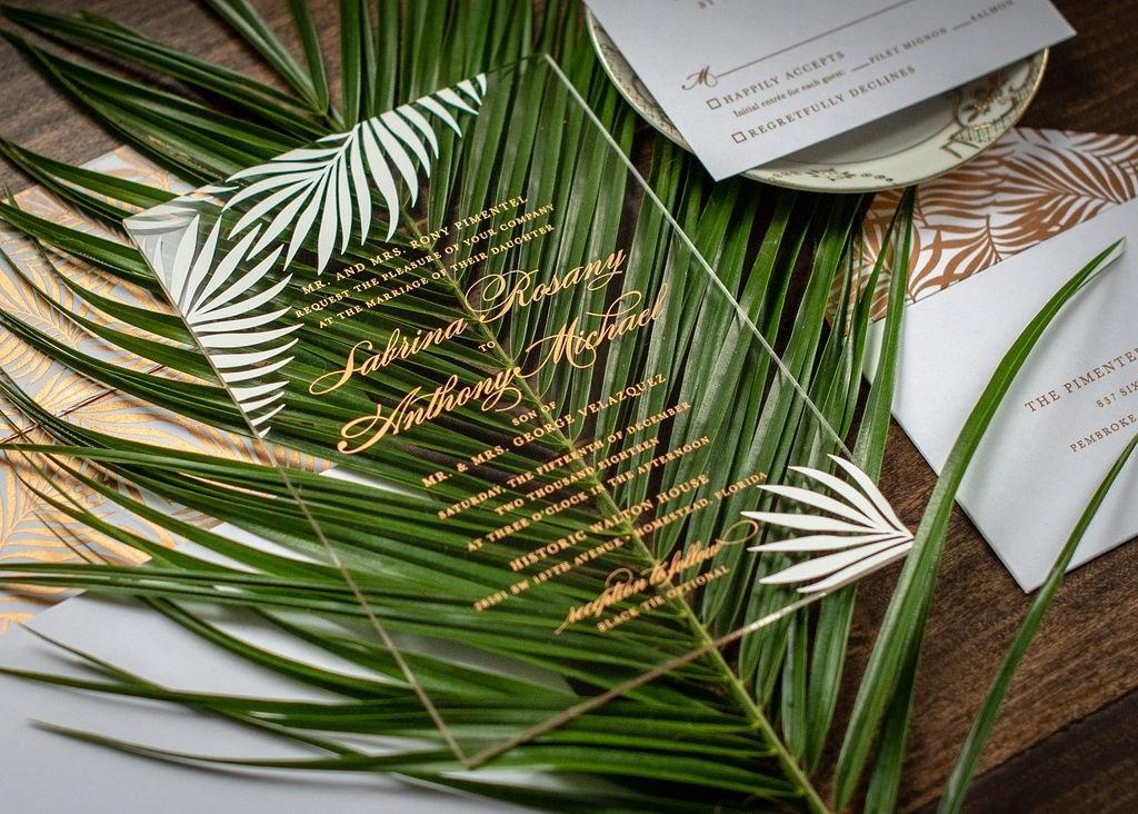TROPICAL PALM LEAF ACRYLIC INVITATIONS
