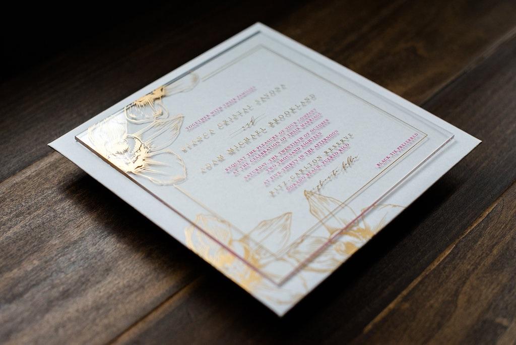FUCHSIA FLORET ACRYLIC WEDDING INVITATIONS