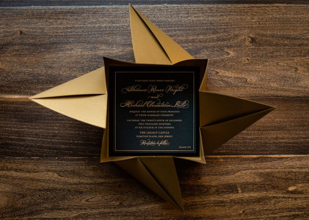 BLACK VELVET ORIGAMI WEDDING INVITATIONS PHOTO 2