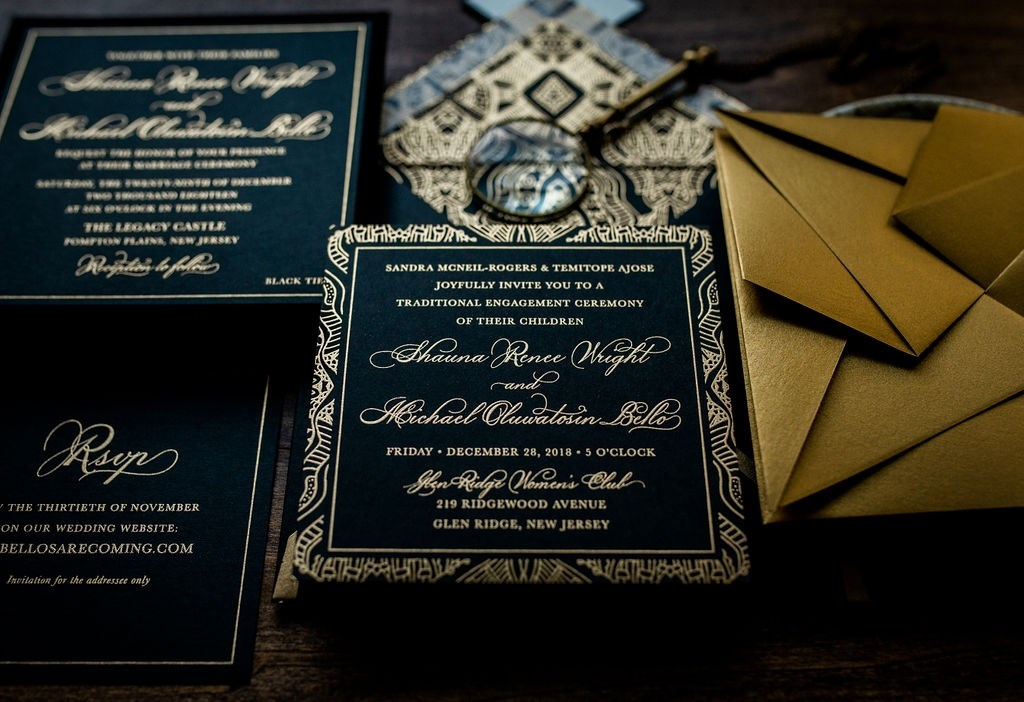 BLACK VELVET ORIGAMI WEDDING INVITATIONS PHOTO 3