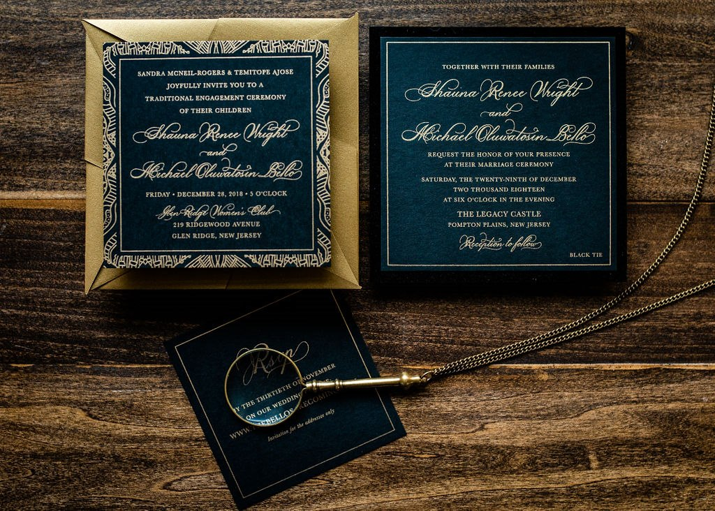 BLACK VELVET ORIGAMI WEDDING INVITATIONS PHOTO 4