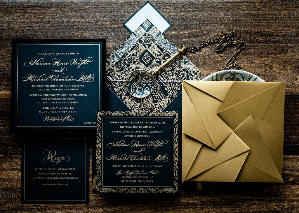 BLACK VELVET ORIGAMI WEDDING INVITATIONS