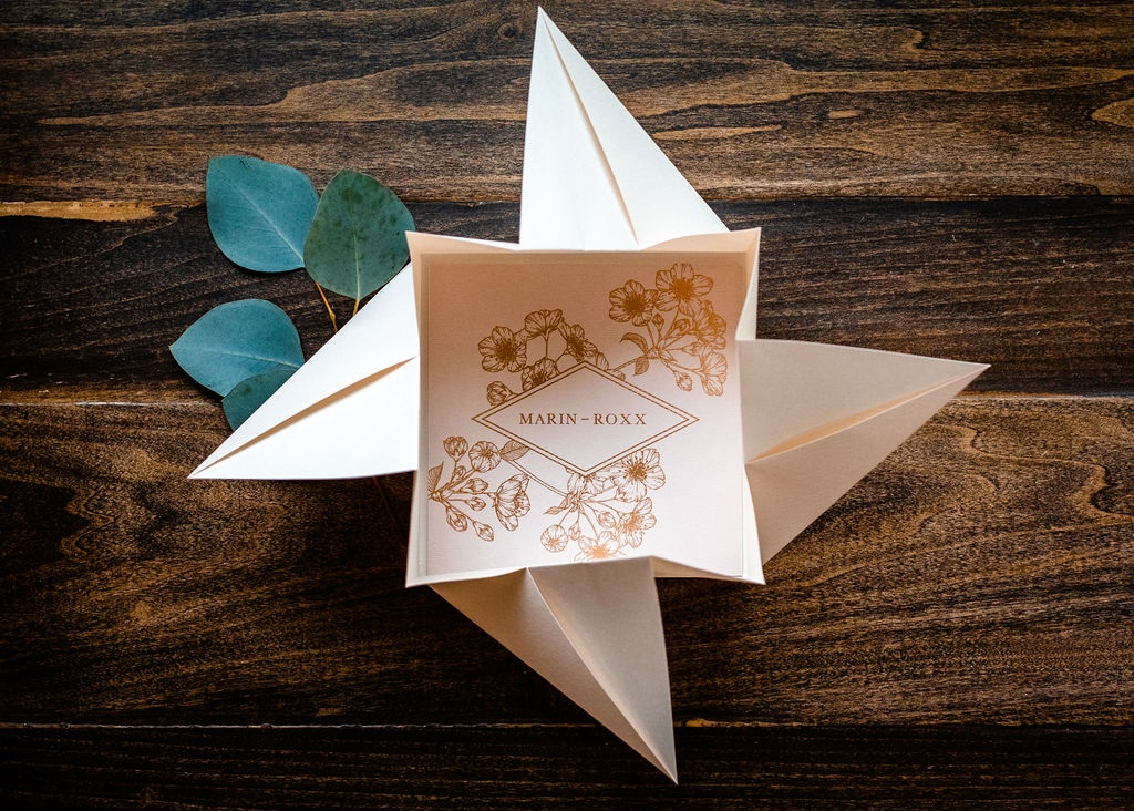 BLUSH BLOSSOMS ORIGAMI WEDDING INVITATIONS