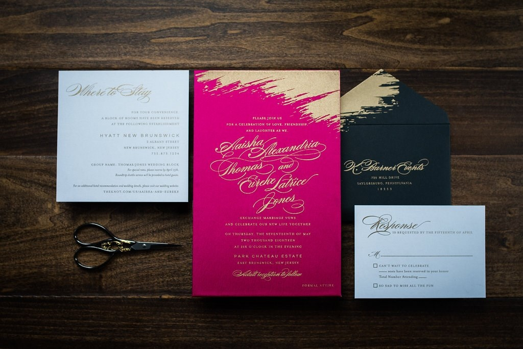 BOLD BRUSH STROKE WEDDING INVITATIONS