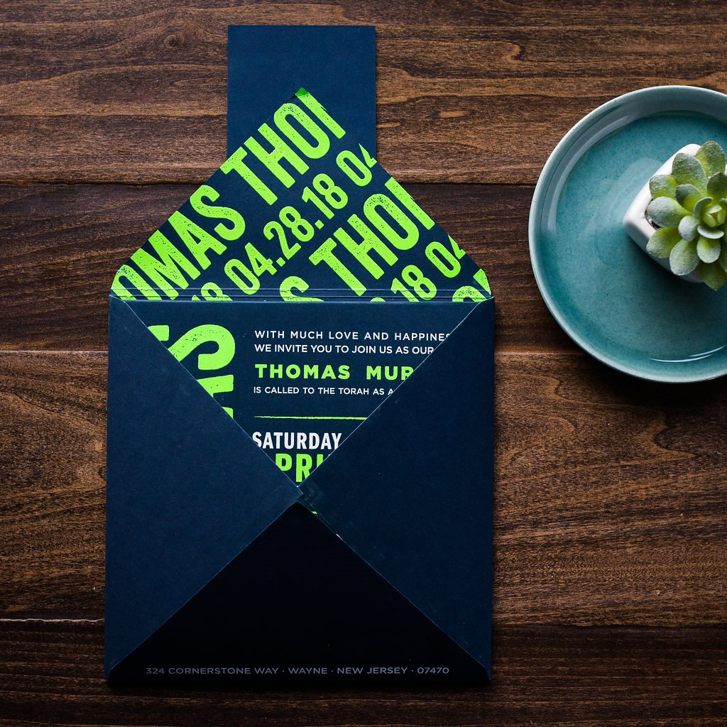 BOLD UNFOLD BAR MITZVAH INVITATIONS PHOTO 2