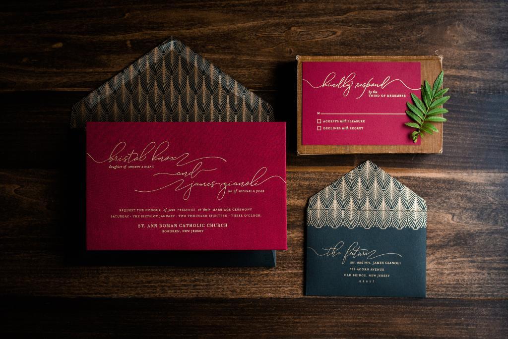CHIC SATIN FABRIC WEDDING INVITATIONS PHOTO 2