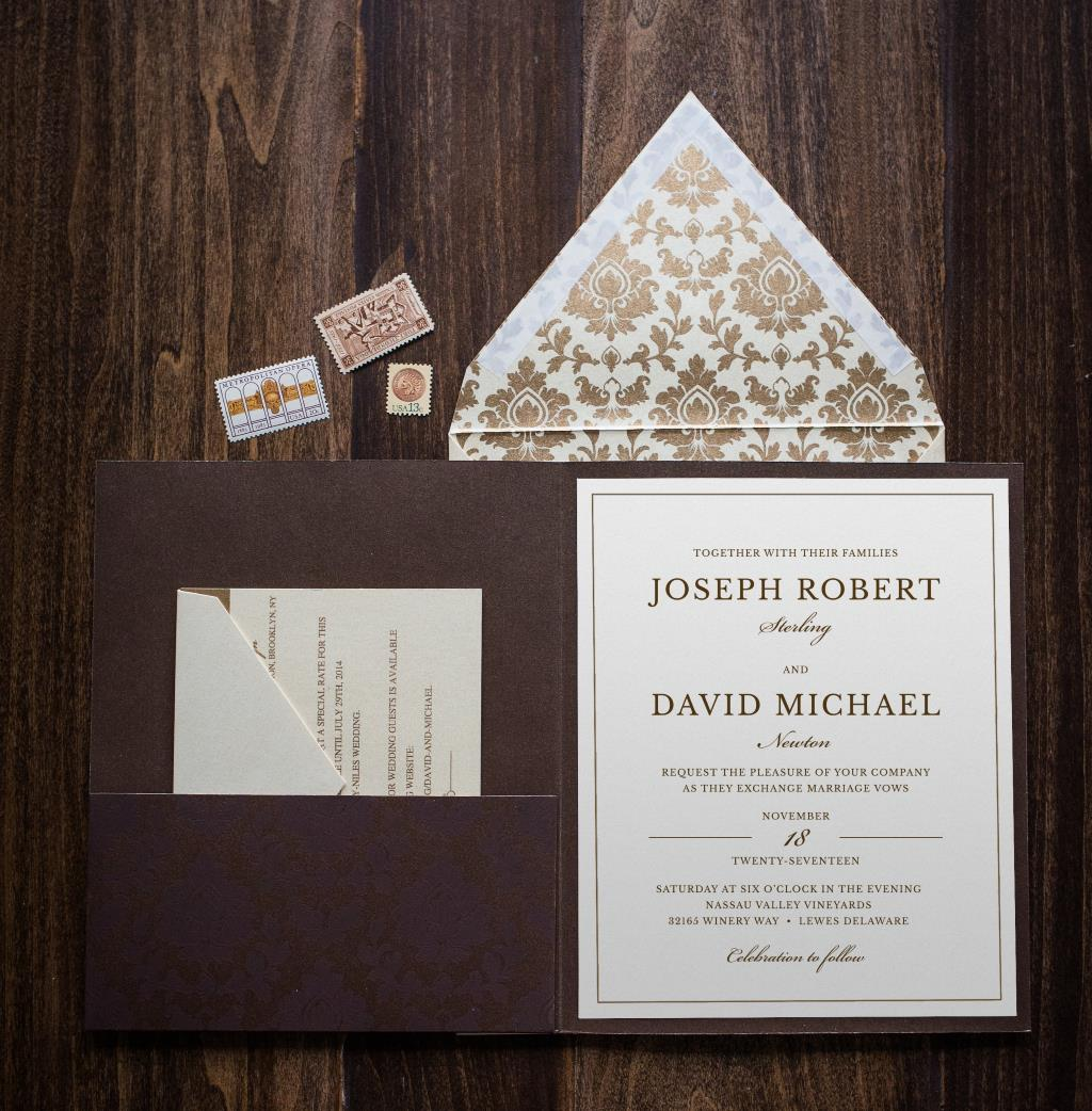 DAMASK POCKET WEDDING INVITATIONS PHOTO 2