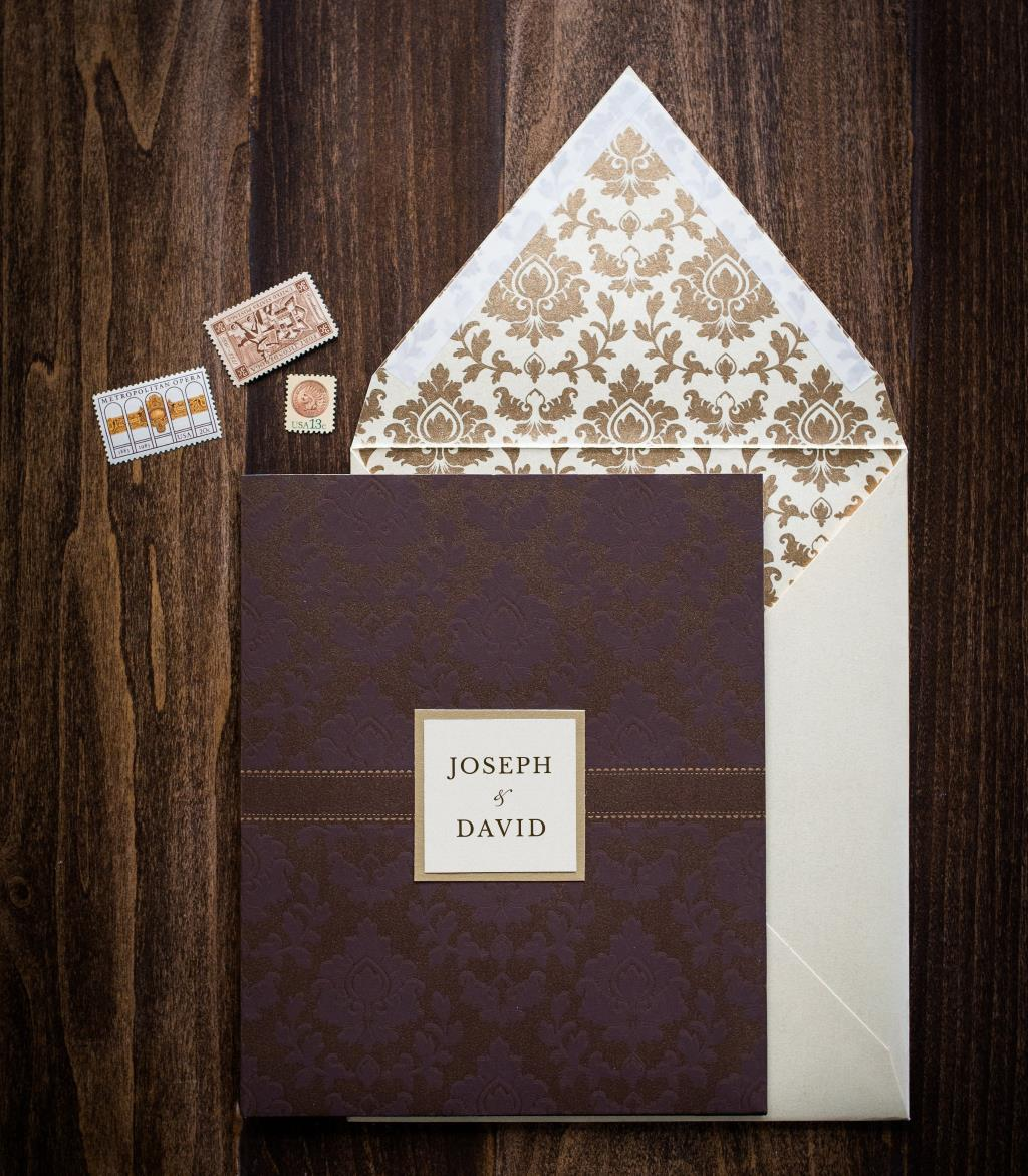 DAMASK POCKET WEDDING INVITATIONS