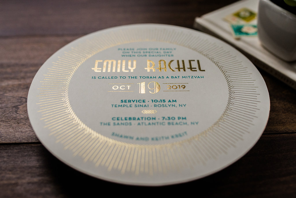 DAZZLING DECO CIRCLE BAT MITZVAH INVITATIONS
