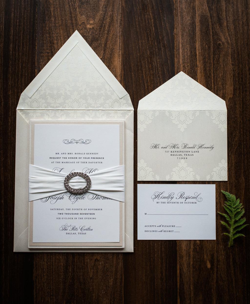 ELEGANT SILK BOARD WEDDING INVITATIONS