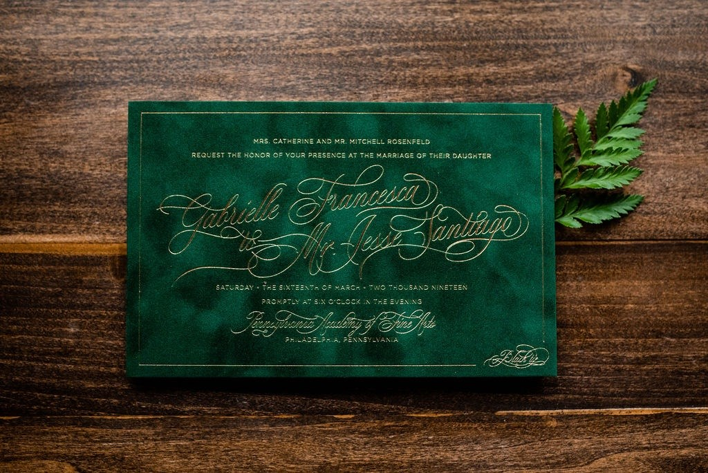 EMERALD CITY VELVET WEDDING INVITATIONS PHOTO 3