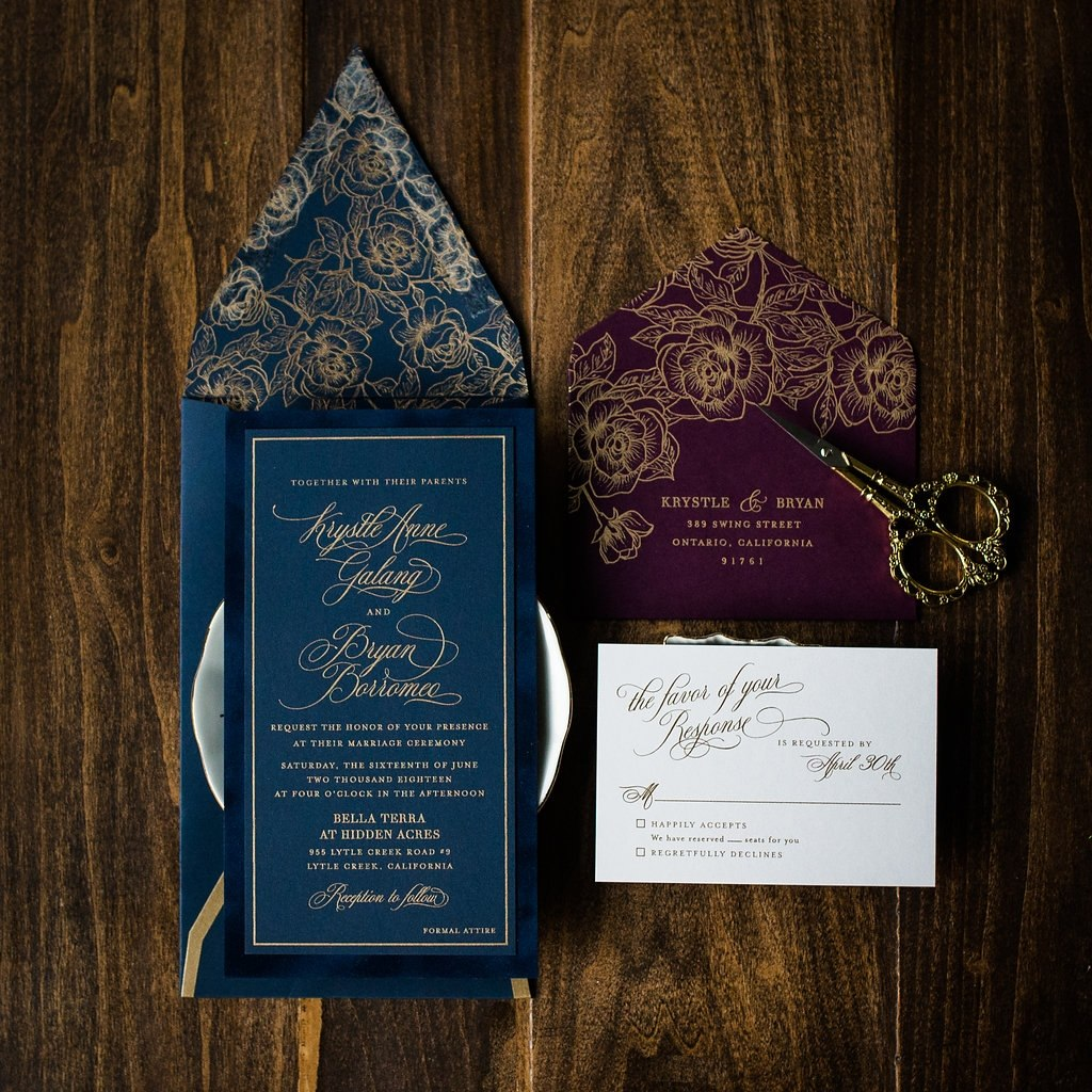 FLORAL VELVET WEDDING INVITATIONS