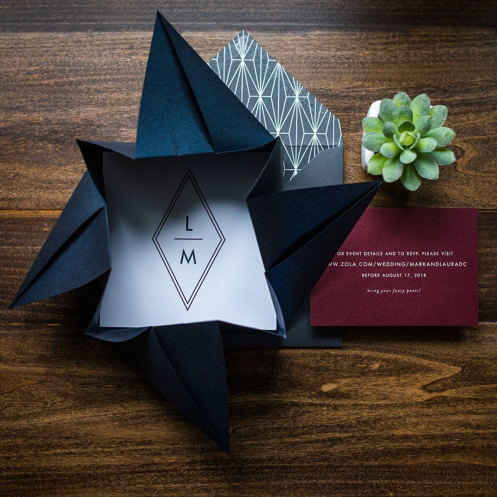 GEO ORIGAMI WEDDING INVITATIONS