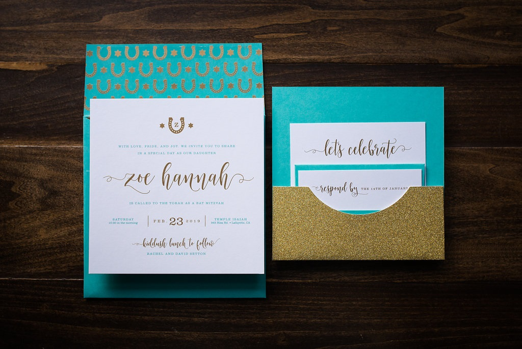 GLITTER POCKET BAT MITZVAH INVITATIONS