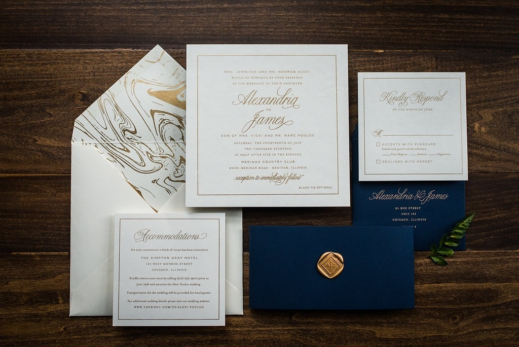 GOLD MARBLE INVITATIONS