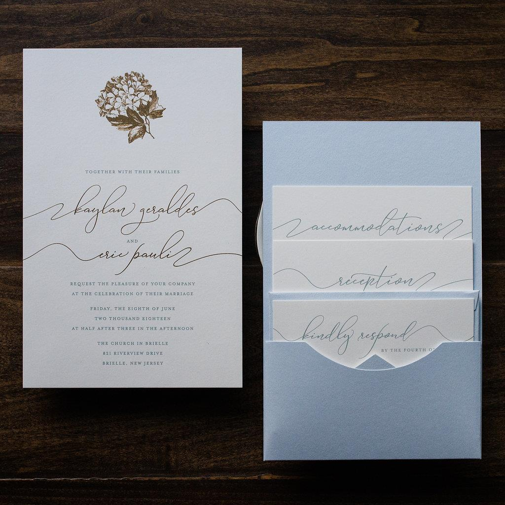 HYDRANGEA BLUE WEDDING INVITATIONS PHOTO 3