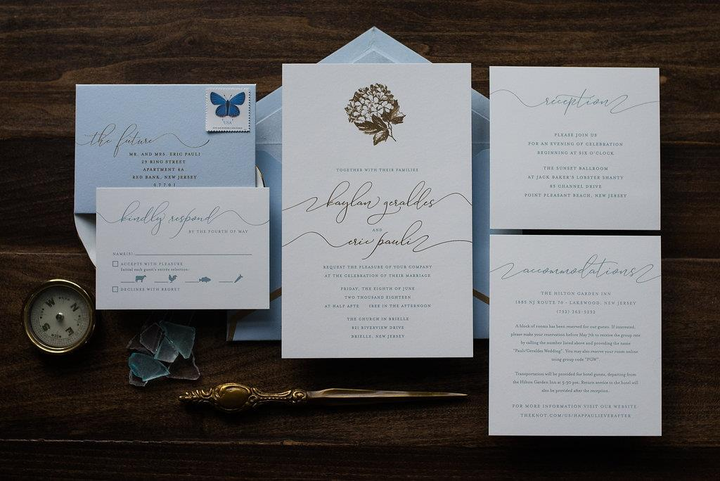 HYDRANGEA BLUE WEDDING INVITATIONS
