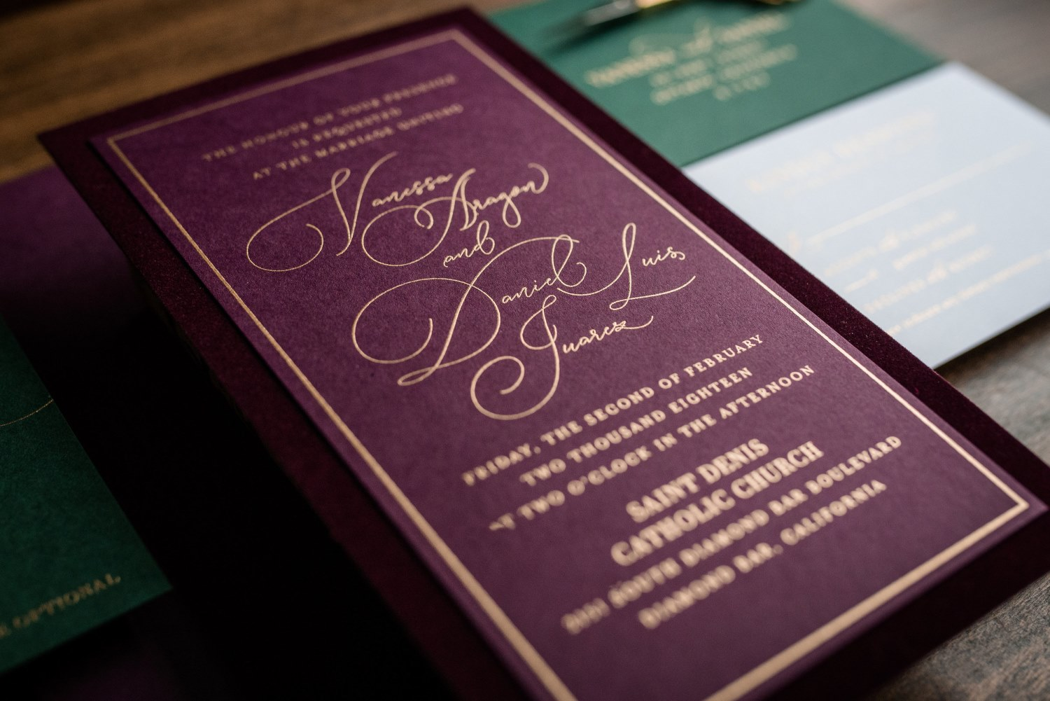 JEWELED VELVET WEDDING INVITATIONS