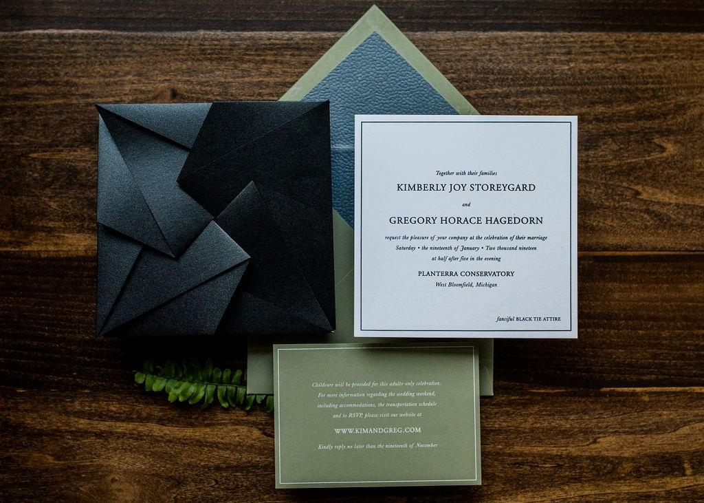 LEATHER ORIGAMI WEDDING INVITATIONS PHOTO 3