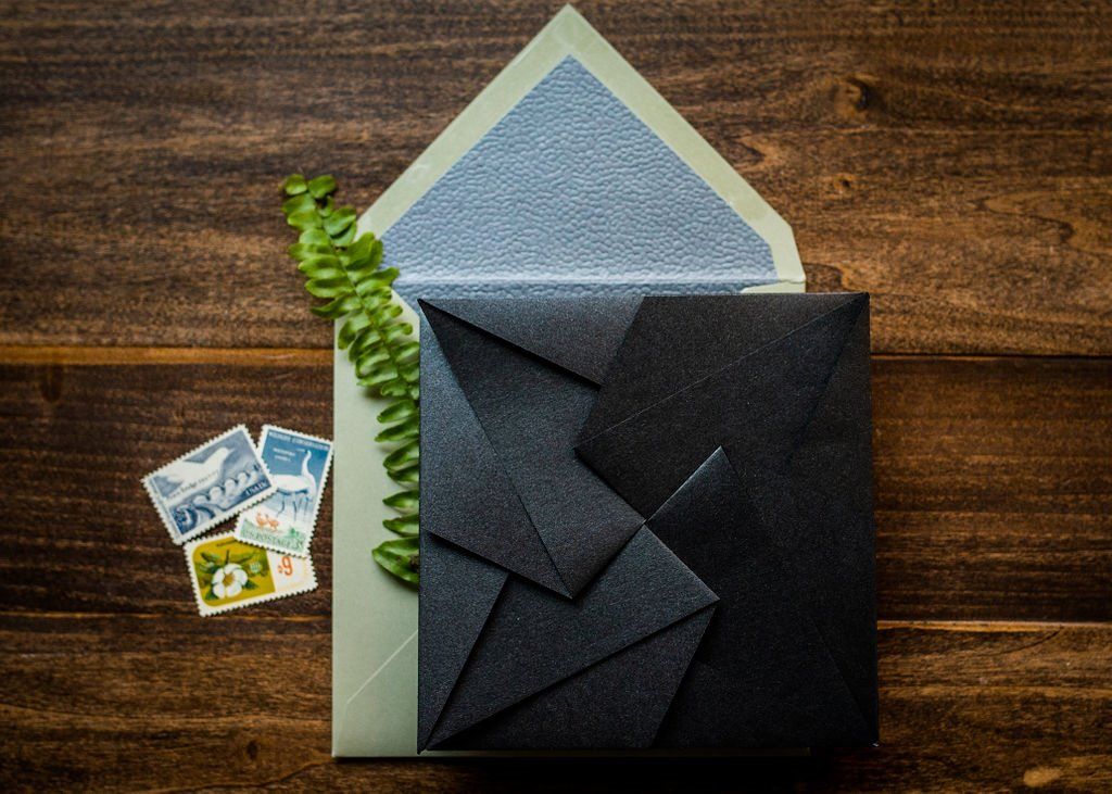 LEATHER ORIGAMI WEDDING INVITATIONS