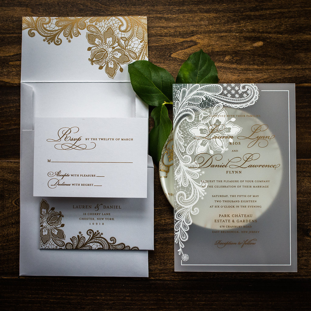 LOVELY LACE ACRYLIC INVITATIONS