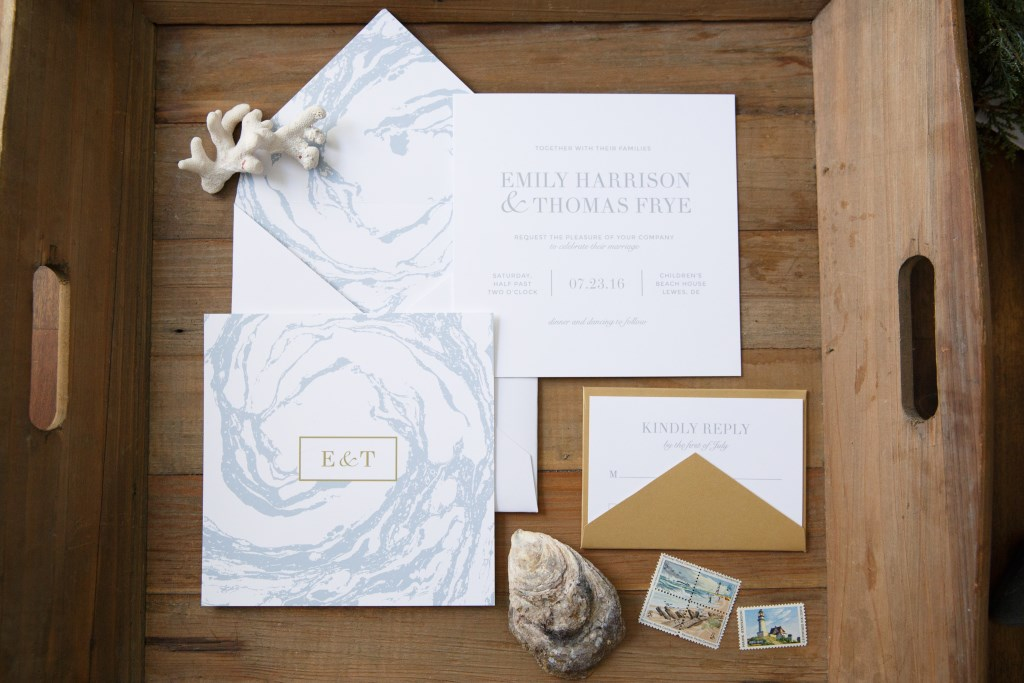 MARBLED OCEAN WEDDING INVITATIONS PHOTO 2