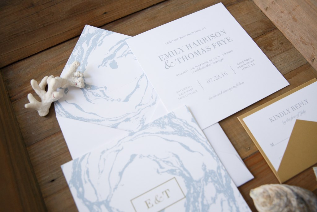 MARBLED OCEAN WEDDING INVITATIONS PHOTO 3