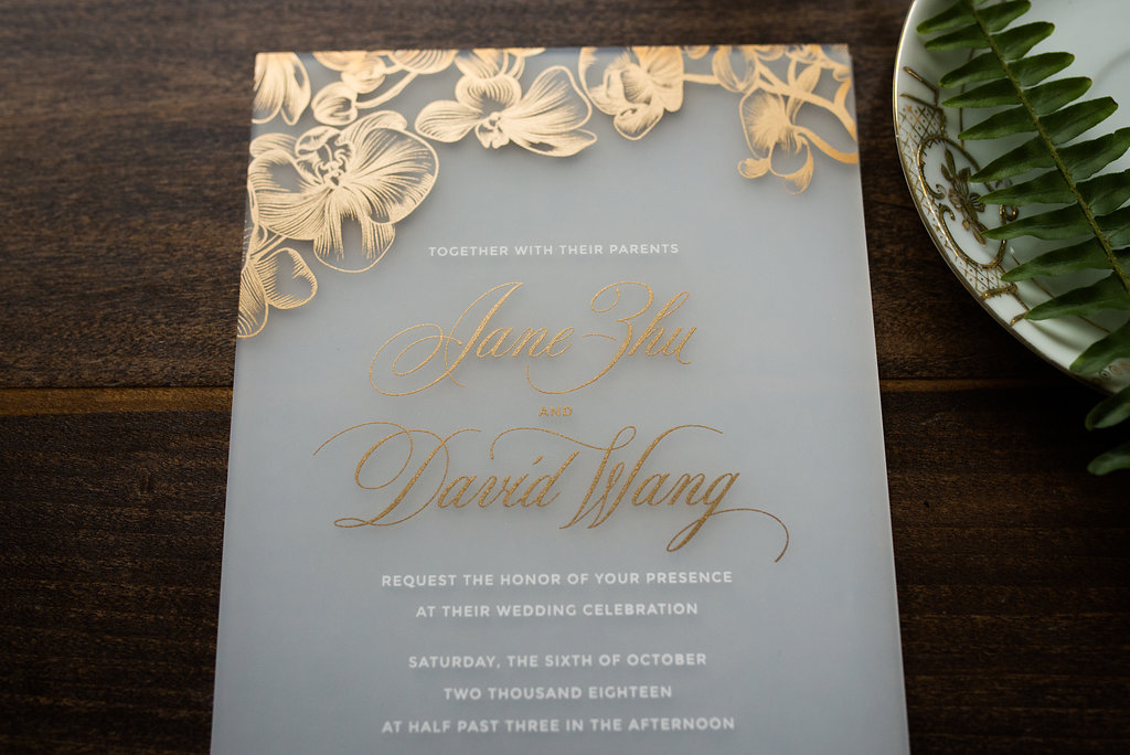 ORCHID ACRYLIC WEDDING INVITATIONS PHOTO 2