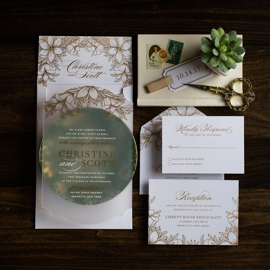 ORNATE SHAPE FLORAL ACRYLIC INVITATIONS