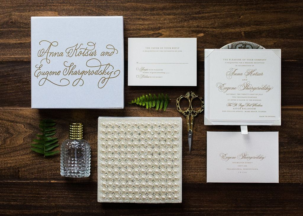 PEARL EMBROIDERED BOX WEDDING INVITATIONS