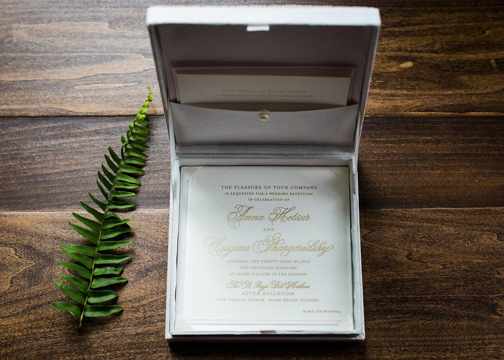 PEARL EMBROIDERED BOX WEDDING INVITATIONS PHOTO 2