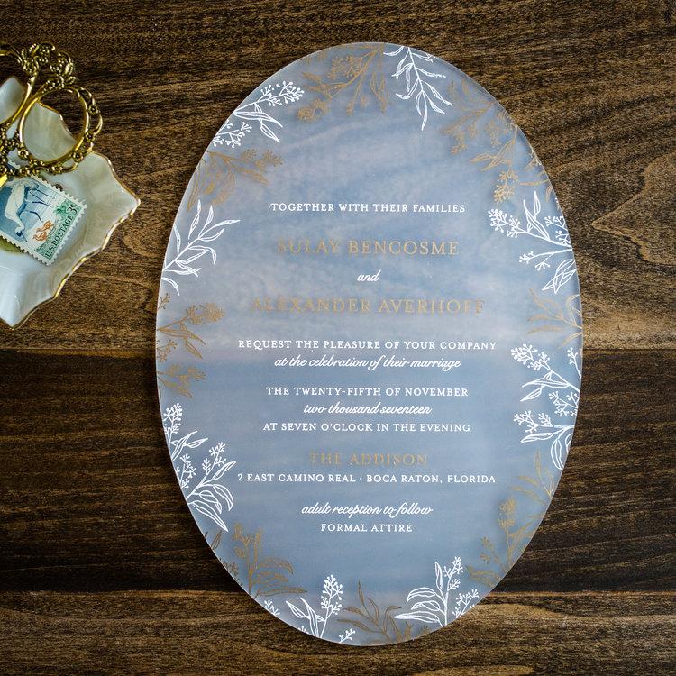 ROMANTIC OVAL ACRYLIC INVITATIONS