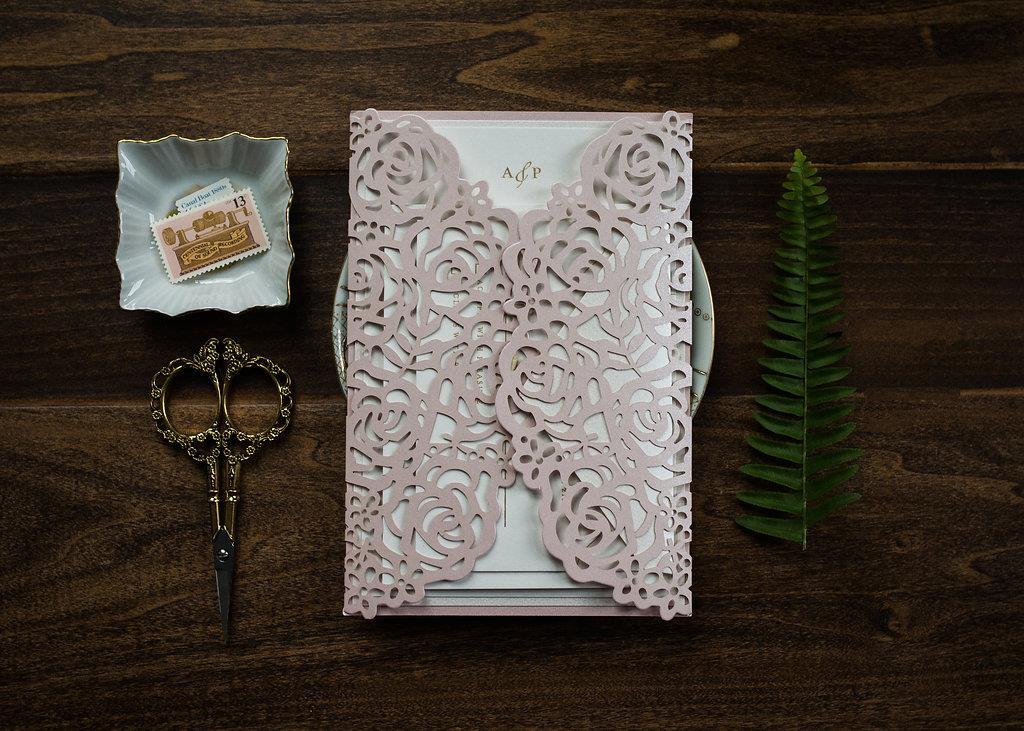ROSE LASER-CUT GATEFOLD WEDDING INVITATIONS PHOTO 2