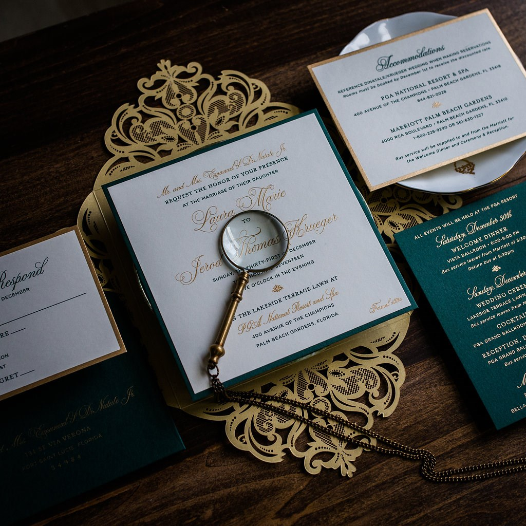 SQUARE LUXE LASER-CUT WEDDING INVITATIONS PHOTO 2