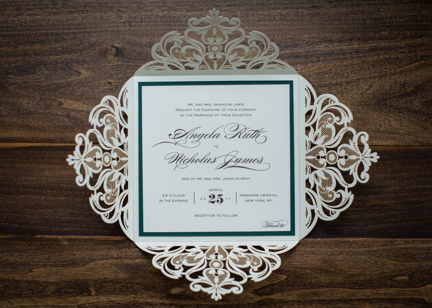 SQUARE LUXE LASER-CUT WEDDING INVITATIONS PHOTO 3