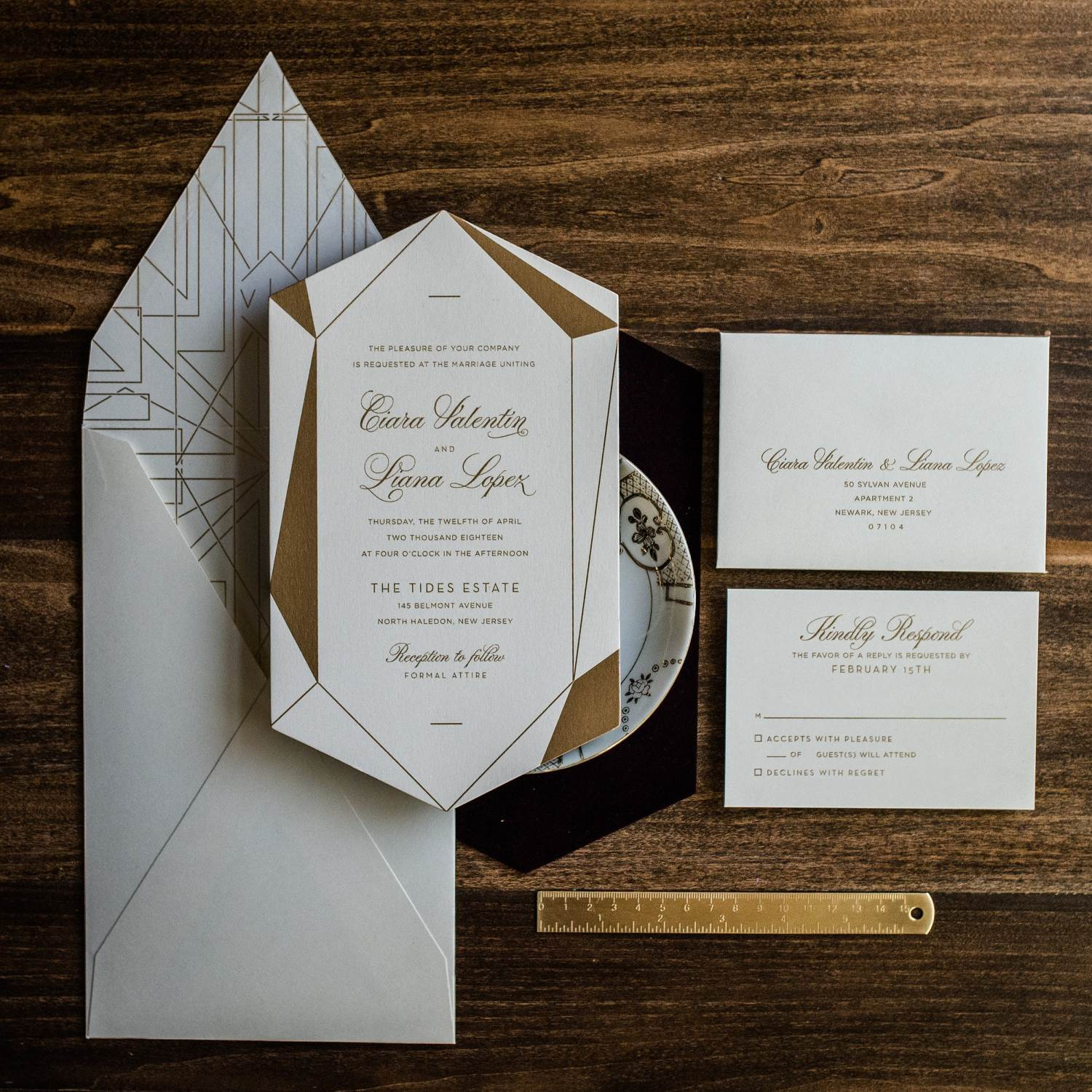 TROPICAL PALM LEAF ACRYLIC INVITATIONS