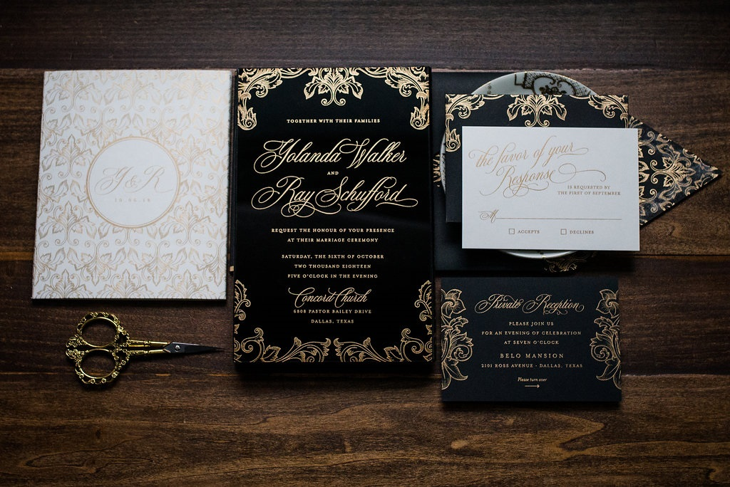 VINTAGE BLACK ACRYLIC WEDDING INVITATIONS