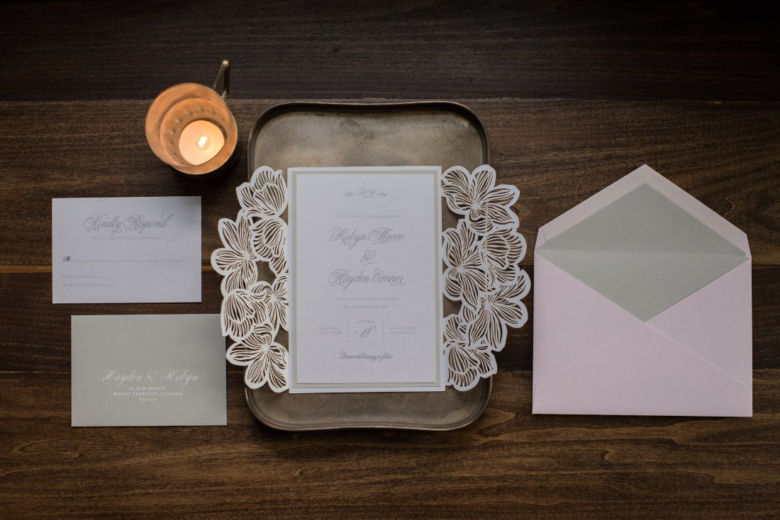 WILDFLOWER LASER-CUT GATEFOLD WEDDING INVITATIONS PHOTO 2