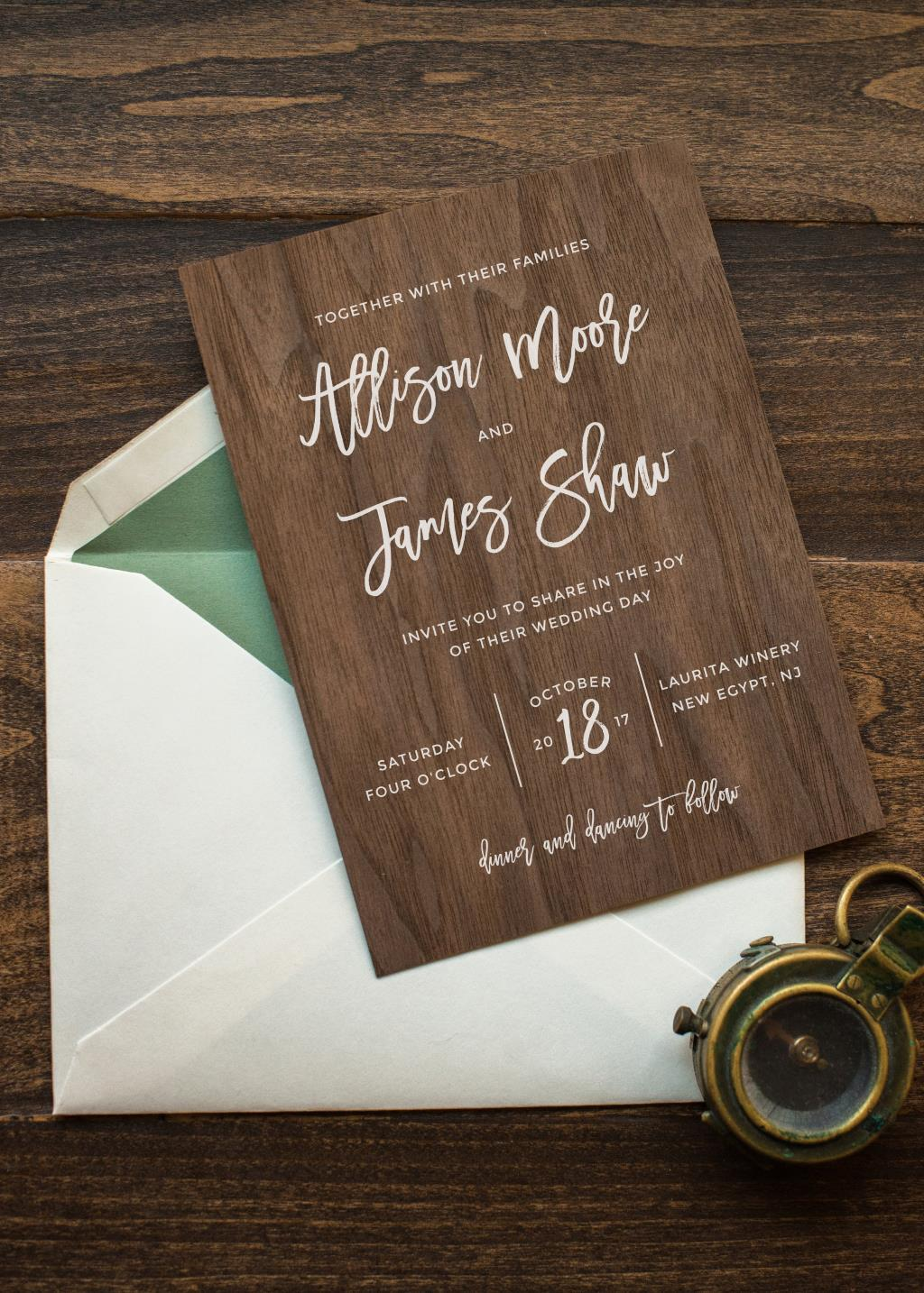 WOODLAND CHIC WEDDING INVITATIONS